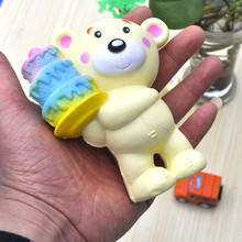 Hot Sale Car Decoration Toy Ice Cream Christmas Bear Car Ornaments Soft Toy Rubber Decompression Car Styling Accessories(China)