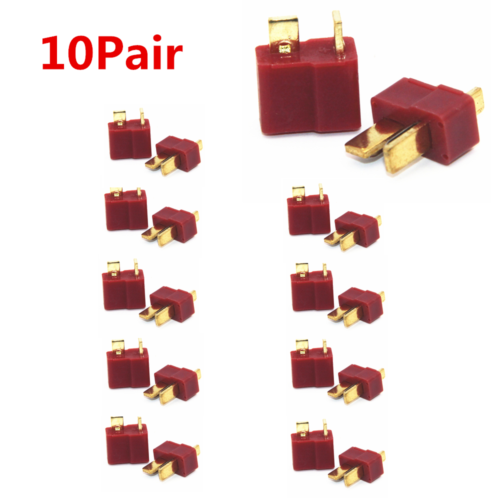 10 Pairs T Plug Male & Female Deans Connectors Style For RC LiPo Battery New(China)