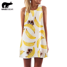 European Style Chiffon Dress Summer Casual Loose O-Neck Sleeveless Print Beach Dresses Plus Size Women Clothing WAIBO BEAR(China)