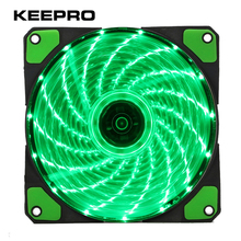 KEEPRO Original 15 Lights 4 Color LED PC Computer Case Heatsink Cooler Cooling Fan DC 12V 4P 3P 120mm Red Green White Blue(China)