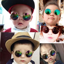 KDDOU Retro children round sunglasses male baby color film reflective round prince glasses girl sunglasses metal frame UV400(China)