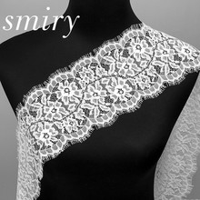 smiry 3 meter Width 12.9cmEyelash Black Soft Floral Lace Trim Tassel Decoration Craft Sewing Lace Trim For Dress Make Decoration(China)