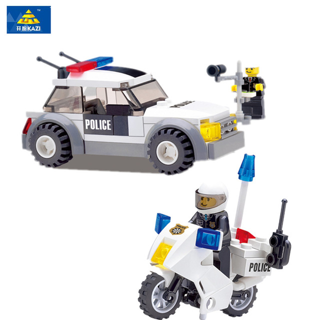 KAZI City Car Police Motorcycle Building Blocks Compatible with All Bricks Classic Educational Toys for Children