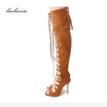 35-43 Plus Size Summer Boots Women Natural Suede Rome Over Knee Boots Heel