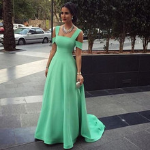 Simle Elegant Mint Green Off The Shoulder Floor Length Evening Dress Party Dress Long Formal Dress Vestido Festa Kaftan