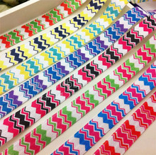 Elastic Ribbon Printed Colorful Chevron 5/8 inch 15mm width 10 yards Baby Headband material Bakery Gift Packaging free shipping(China)