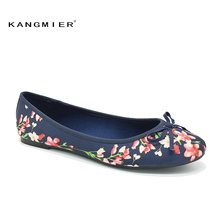 shoes women ballerina ballet flats navy Printed Satin with Round toe and bowtie KANGMIER