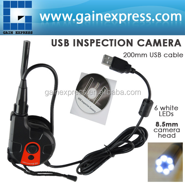 200mm USB Cable HD 8.5mm Camera Head Video Inspection Borescope 6 LED Light Tape Style Endoscope SnakeScope<br><br>Aliexpress