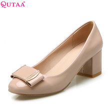 QUTAA 2017 White Women Pumps Square Med Heel Round Toe Bow Tie Platform Summer PU Patent leather Ladies Wedding Shoes Size 34-43(China)