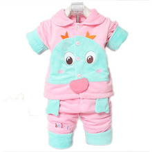 Cartoon Baby Suit Winter Spring Autumn Baby Clothing Thin Cotton Boy Girl Clothes Pants Three-Piece Cartoon Baby Suit 0-2 Years