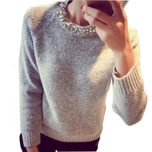 2017 Fashion Women Sweater Beading O-Neck Solid Casual Slim Ladies Cashmere Sweater Pullover Spring Autumn Winter SW528(China)