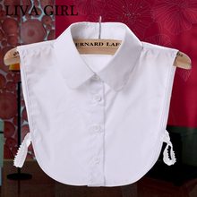 Liva girl Ladies Women Adult Detachable Lapel Shirt Fake Collar Fashion Solid Color False Blouse Neckwear Clothing Accessories