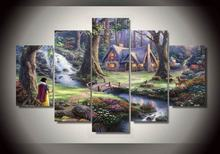2017 Hot Sale Wall Art Canvas Painting Thomas Kinkade Forest Landscape Scenery Wall Pictures For Living Room HD Modular Pictures(China)