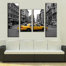 Brand New 4 Pcs/Set Landscape New York City Painting Prints On Canvas Gray New York Yellow Taxi Wall Pictures For Living Room(China)