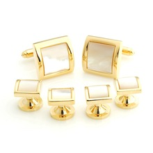 Free Shipping ! YHCS-04 Fashion Luxury Square Onyx and MOP Mens Tuxedo Cufflink and Studs Sets for Mens Shirt Accessories