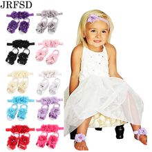 JRFSD 2017 Newborn Flower Headband barefoot sandal sets satin flower hair accessories for Photography props 13 colors pick