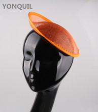 Free shipping 5Pcs/Lot 20cm Orange Sinamay Base Fascinator Hat Hair Accessories Millinery Material women Handmade DIY Wholesale(China)