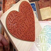 Heart Shaped Wooden Stamp Blocks Rubber Craved Printing Stamp Scrapbooking DIY Decoration Craft With English Letters