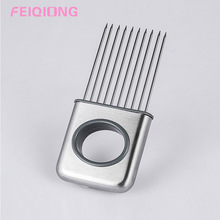 High Quality Stainless Steel Fruit Vegetable Meat Cutter Slicing Tool Onion Holder Slicer Safe and non-toxic(China)