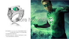 (can mix size)20pcs/lot Wholesale Fashion Jewelry Silver Charm Green Lantern Ring,original factory supply(China)