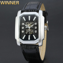 WINNER new hot watch, Swiss watch, hollow square automatic mechanical watch, business leather watch 033(China)