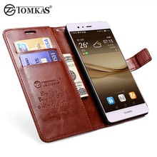 Wallet Cover Case For Huawei P9 Luxury PU Leather Phone Bag For Huawei P9 Case Stand+Card Holder Flip Cover For Huawei P9 Tomkas