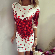 Robe 2016 New Hot Summer Dress Love Heart Print Bodycon Dress Women Party O-Neck half Sleeve Dress Fashion Casual Dresses
