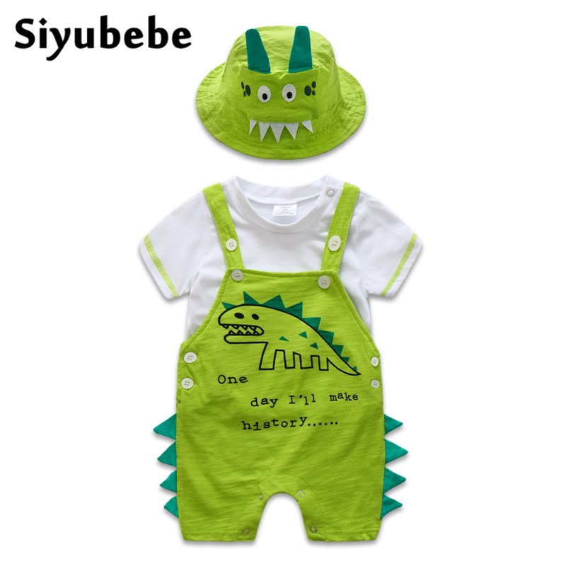 Summer 2017 Newborn Baby Boy Clothes Set Short Sleeve Dinosaur Baby Clothing Cotton T-shirt Tops + Suspender Trousers With Hat<br>