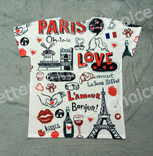 Track Ship+New Vintage Retro Cool Rock&Roll Punk T-shirt Top Tee Bonjur Shopping In Paris Happy Love 0170(Hong Kong)