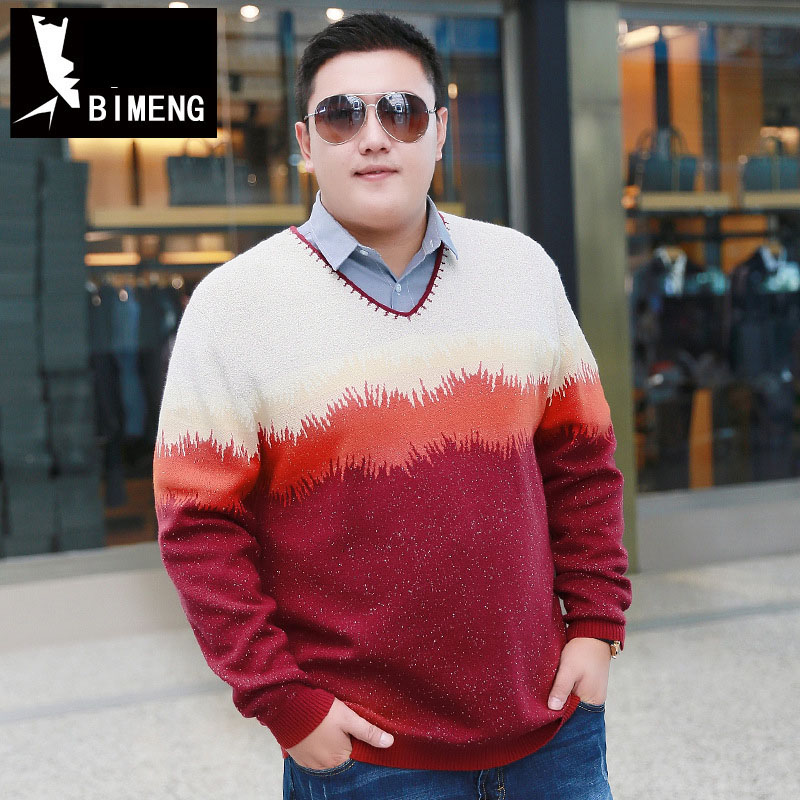 BIMENG Brand Clothing 4XL 5XL 6XL 7XL  Men Knitted Fashion V Neck Pullovers Sweater