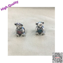 Authentic Real New 2017 Spring 100% 925 Sterling Girl Teddy Bear Charm Original Bead Bracelet European Style Diy Jewelry
