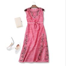Europe and the United States women's clothing The new summer 2017 Big yards Silk and linen embroidered lace dress with  vest