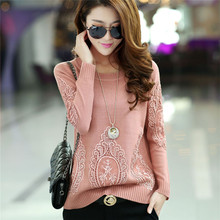 Spring Autumn New 2016 Fashion Loose Cashmere Pullover Women Knit Sweater Hedging Round Neck Outwear Female Lace sweaters(China)
