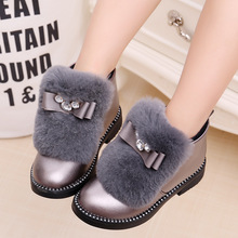 Girls Kids Short Boots Children Fur Bowknot Rubber Boots Warm Autumn Winter Casual Shoes for Female Size 27-37 Gray Black(China)