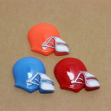 Free Shipping! mix colors 30pcs American Football Helmet Resin Cabochons Flatbacks for DIY decoration(China)