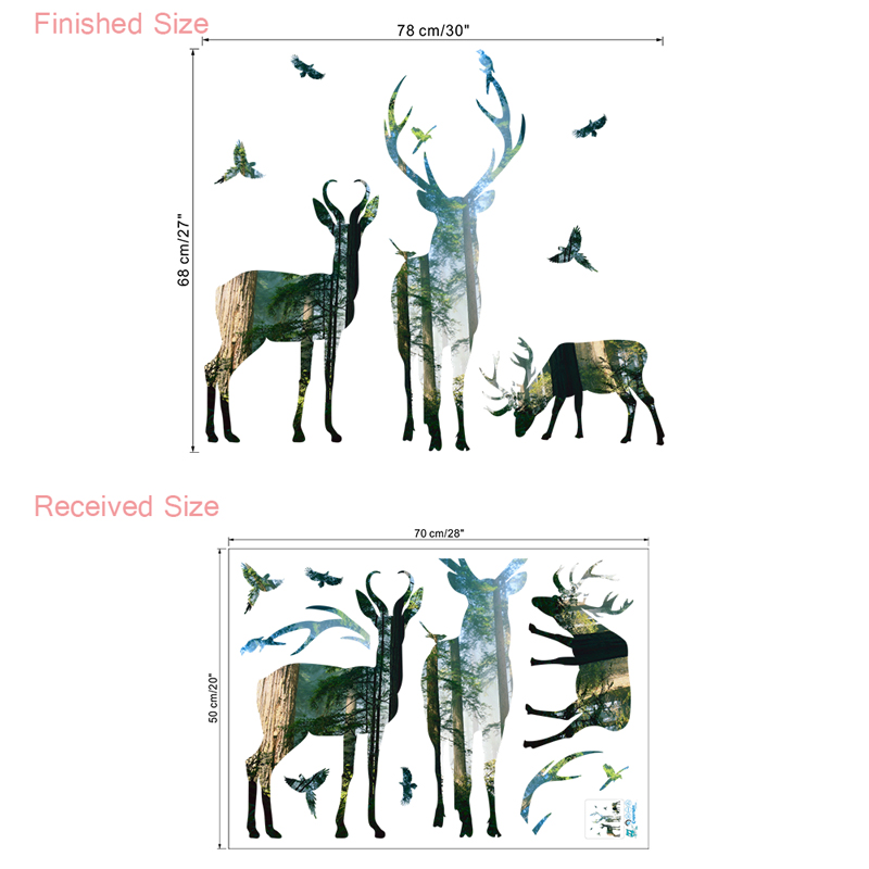 HTB1KUSTXmBYBeNjy0Feq6znmFXas 3d View Nature Forest Deer Wall Stickers Home Decor Living Room Office Decoration Pvc Wall Decals Poster Diy Mural Art