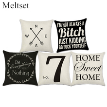 Cushion Cover Black White Abstract Geometric Pillow Case Linen Pillow Cover for Sofa Couch Bedroom Home Decor Funda Cojin(China)