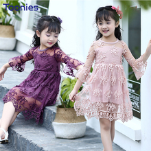 Hot Sale Girls Dress 2017 New Fashion Baby Girl Dresses Lovely Princess Lace Dress Children Floral Pattern Clothing High Quality