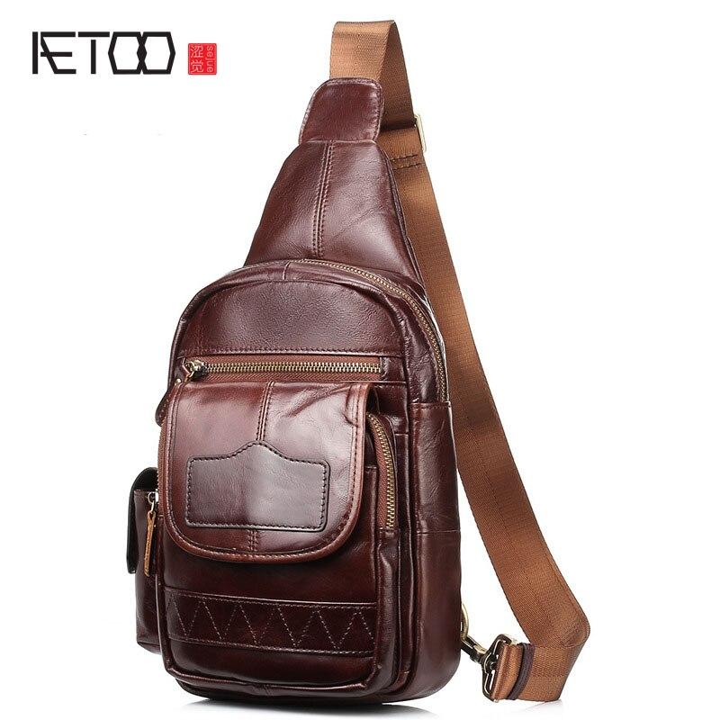 AETOO Breast chest bag men leather Messenger bag a generation of Korean version of shoulder bag male handbag<br>