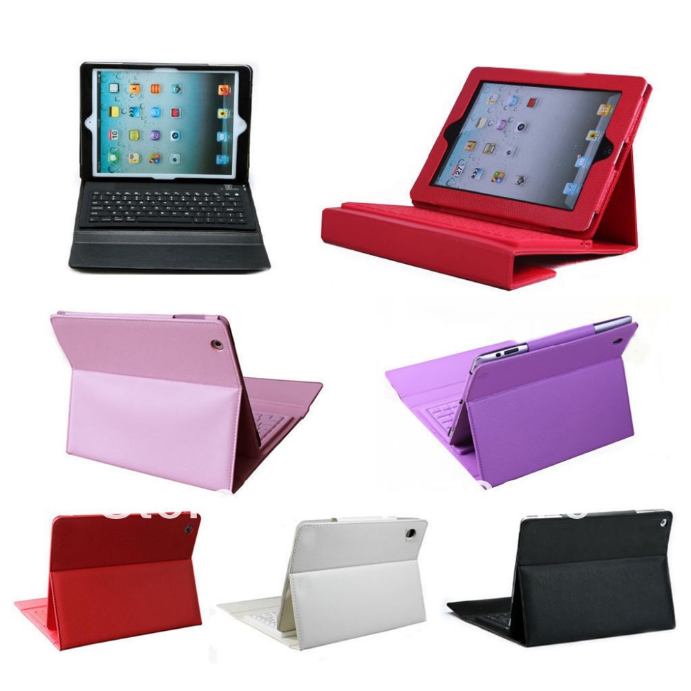 Free Shipping slim Silicone wireless bluetooth keyboard PU leather Flip case with stand cover bluetooth 3.0 for Ipad air iPad 5<br><br>Aliexpress