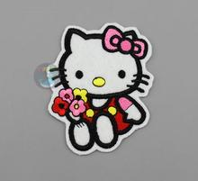 Embroidery Personality Patches for Clothes Jeans HELLO KITTY Patches Sew On 6.3x7.6cm Custom Patches