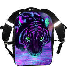 Multicolour Animal Print Backpack Colorful Tiger Lion Cat Dog Chick Bear Horse Wolf Women Men Causul Boys Girls School Bags(China)