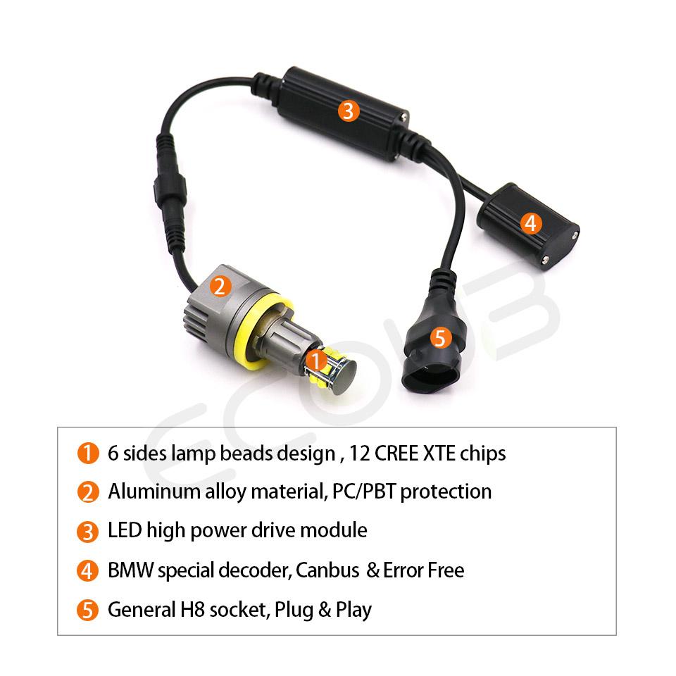H8 Angel Eyes LED Marker Standlicht Für BMW E92 E93 E60 E61 E82 E90 E91 E63 E64