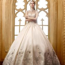 Crystal Beading Dubai Bride Dress Champagne Color Vintage Stand Collar Princess Luxury Satin Quality Wedding Dress 2017