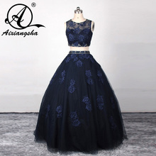 Midnight Blue Quinceanera Dresses Two Pieces Lace Cap Sleeve Tulle A-line Girls 15 Party Dress Vestido de quinceanera 2016 New(China)