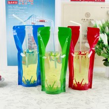 NEW Product Color beverage bags Transparent Self-styled Liquid packaging Juice 450ml-500ml 12*23cm Wholesale(50PCS)Tea shop(China)
