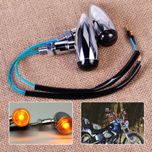 2pcs Motorcycle Silver Bullet Turn Signals Light Lamp Indicator fit for Harley Chopper Bobber Custom Suzuki Yamaha Dirt Bike ATV
