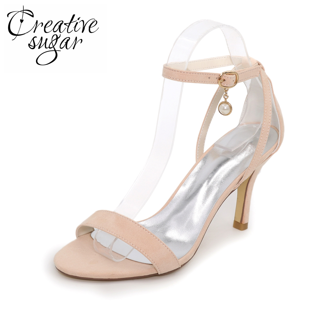 Creativesugar Simple one band summer dress shoes fashion show red carpet sandals woman high heels green skyblue red peach nude<br>
