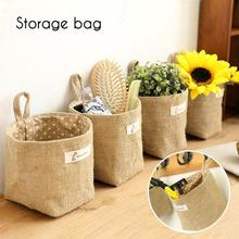 1 Pcs Wall Hanging Storage Bags Organizer Cotton Linen Closet Hanging Storage Bag Stationery Toy Pouch Bag L35