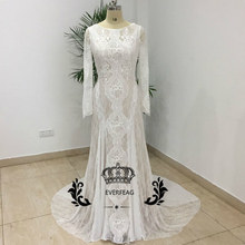 vestidos de novia Lace Beach Boho Wedding Dresses Long Sleeve Open Back Garden Bohemian Wedding Gowns 2018 robe de mariee(China)